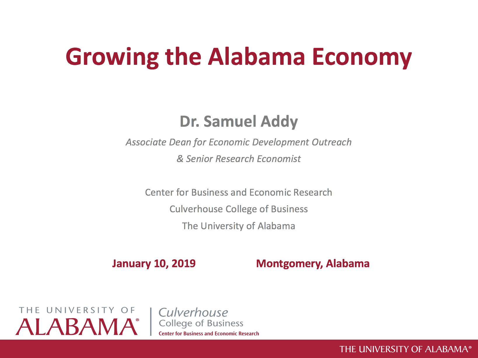 Growing the Alabama Economy Presentation