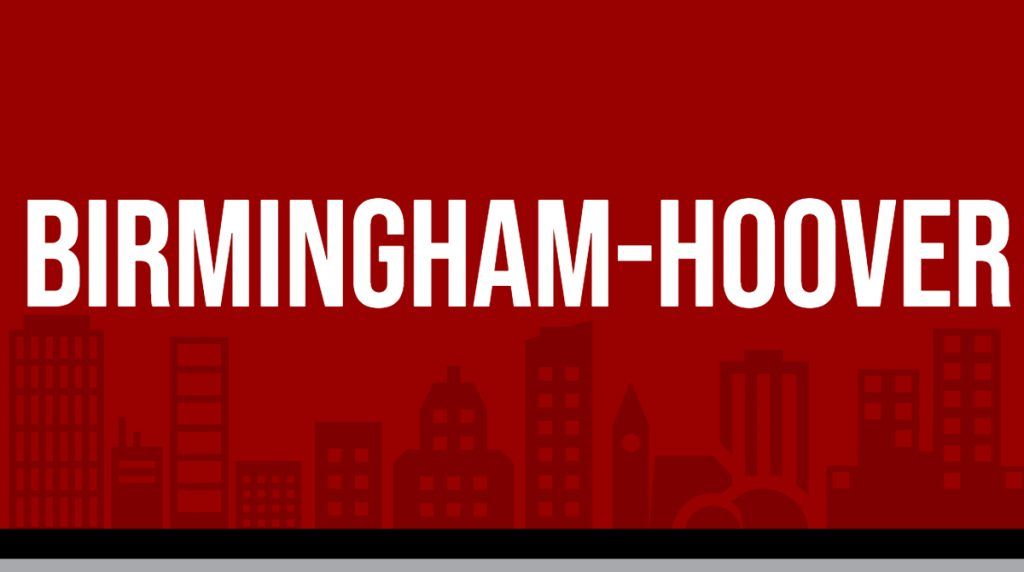 "Red rectangle with white text displaying ""birmingham-hoover"" image is linked to Metro area report page"