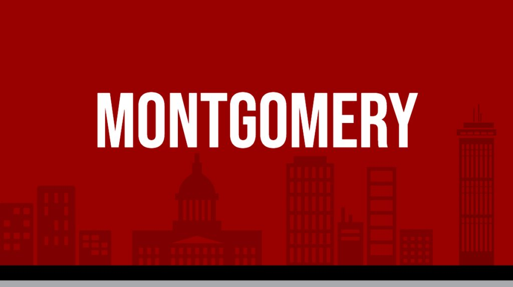 "Red rectangle with white text displaying ""Montgomery"" image is linked to Metro area report page"