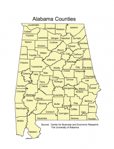 Alabama Counties Map