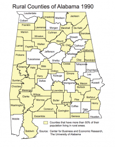 Rural Counties of Alabama 1990