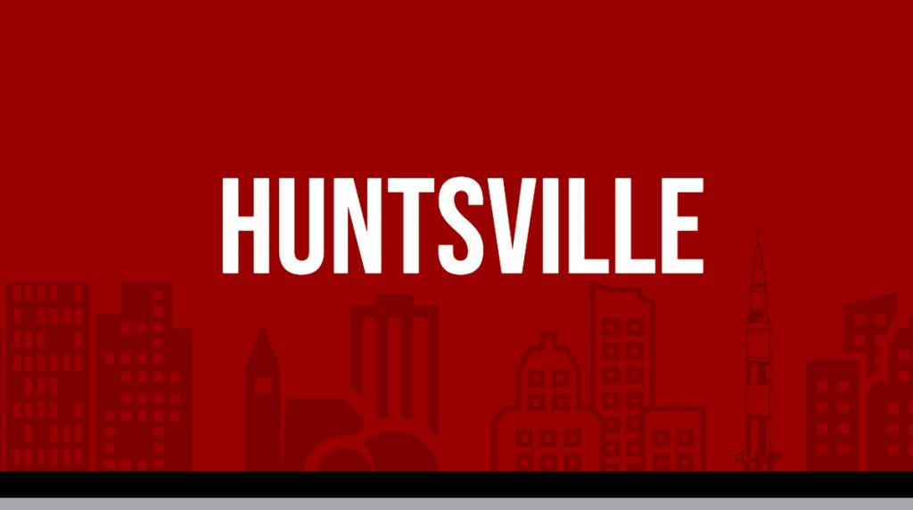 "Red rectangle with white text displaying ""Huntsville"" image is linked to Metro area report page"
