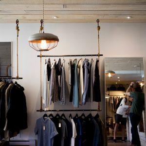 Clothing racks inside retail store