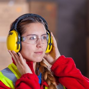 Woman with construction gear on