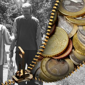 Split image of two seniors and coins