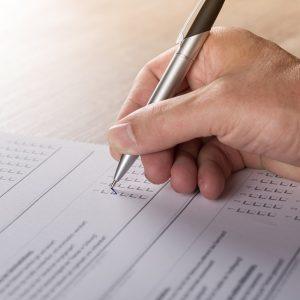 Person filling out survey