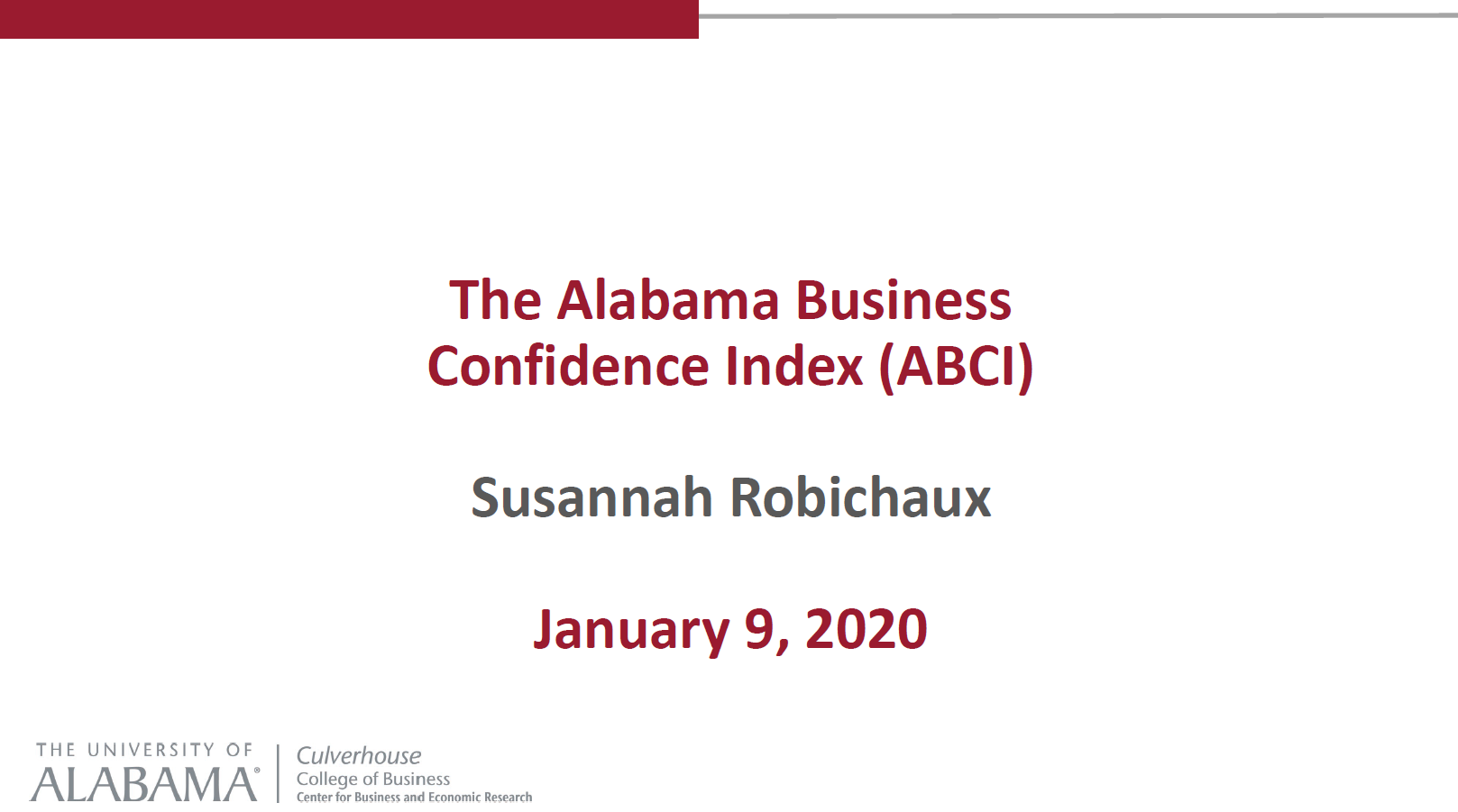 The Alabama Business Confidence Index Presentation 2020
