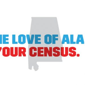 A graphic with the state of Alabama says