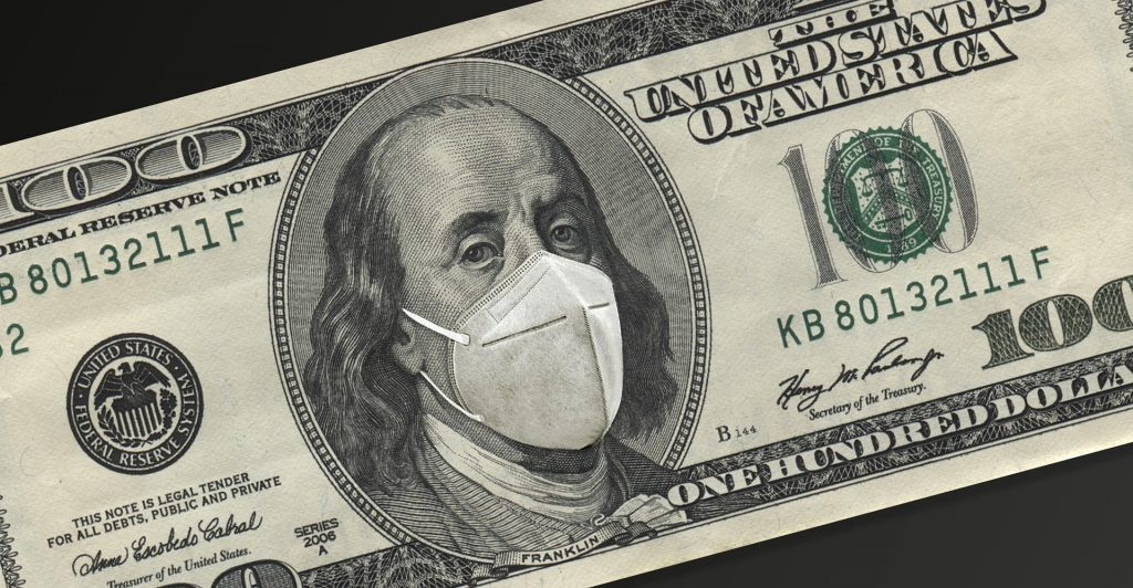 Photo of an altered $100 dollar bill where the President Franklin is wearing a KN-95 mask